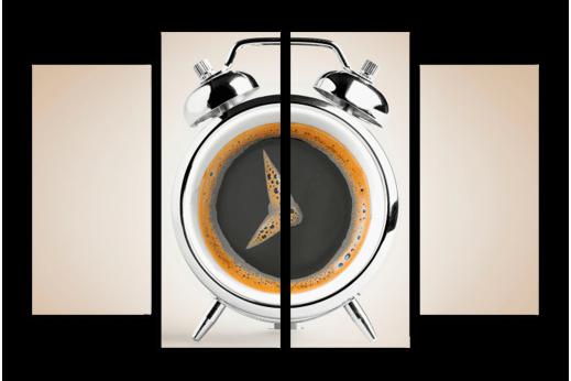 Модульная картина Кофе будильник